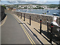 SX9372 : Wall, footway and bollards, Riverside  by Robin Stott