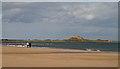 NU1339 : Walking on Ross Back Sands by Walter Baxter