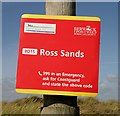 NU1437 : A coastguard information sign at Ross Sands by Walter Baxter