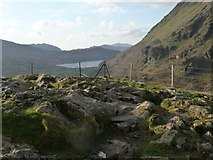 SH6554 : Rocky outcrop at the Nant Gwynant viewpoint [2] by Christine Johnstone