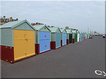 TQ2804 : Hove: the line of beach huts commences by Chris Downer