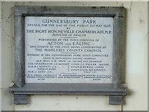 TQ1979 : Plaque in Gunnersbury Park by Thomas Nugent