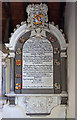 SU7436 : Sir Nicholas Stuart wall monument - St Leonard's church, Hartley Mauditt by Mike Searle