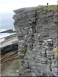 HY2328 : Birsay: cliff face at Brough Head by Chris Downer