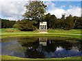 NZ3429 : Circular Pond & Gothic Seat, Hardwick Hall Country Park by Andrew Curtis
