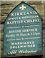 SD4644 : Sign for the Kirkland Baptist Chapel, Nateby by Karl and Ali