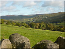 SK2376 : View up the Derwent Valley to Grindleford by Peter Barr