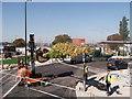 TQ7568 : Tree planting, Chatham Bus Station  (2) by David Anstiss