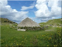 NB1340 : Reconstructed Iron Age House, Bostadh - from South by Rob Farrow