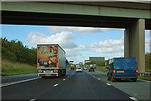 SE3965 : A1(M) under the bridge near Boroughbridge by Robin Webster
