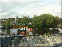 SE3320 : Calder River weir, Wakefield by Julian Osley