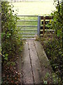 TM3072 : Footbridge & Footpath Gate of the footpath to Bickers Hill Road by Adrian Cable