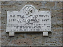 HU4841 : Lerwick: plaque on the Widows' Homes by Chris Downer