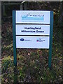 TM3473 : Huntingfield Millennium Green sign by Adrian Cable