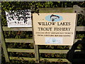 TM3578 : Willow Trout Lakes sign by Adrian Cable