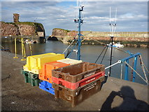 NT6779 : Coastal East Lothian : Fishboxes at Victoria Harbour, Dunbar - 15th October 2011 by Richard West