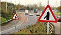 """J3776 : """"Traffic merging from left"""" sign, Belfast by Albert Bridge"""