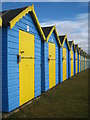 SZ9599 : Beach huts on Felpham Greensward by Rod Allday