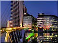 SJ8097 : BBC Offices and MediaCity Footbridge by David Dixon