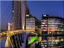 SJ8097 : BBC Offices and MediaCity Footbridge by David Dixon