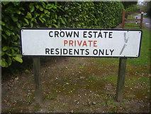 TQ1461 : Crown Estate sign, Stokes Heath Road by David Howard