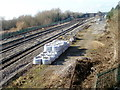 ST4286 : Railway storage area adjacent to Magor footbridge by Jaggery