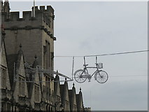 SP5106 : Bike in the sky as Christmas lights, Oxford by David Hawgood
