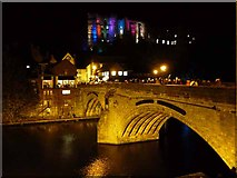 NZ2742 : Framwellgate Bridge and Durham Castle, Durham Lumiere 2011 by Oliver Dixon