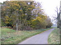 TM1874 : Church Road, Denham & the footpath to Denham Low Road by Adrian Cable