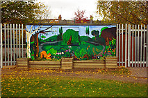 TQ3088 : Mural, Stationers Park, Hornsey Vale by Julian Osley