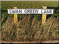 TM2974 : Swan Green Lane sign by Adrian Cable