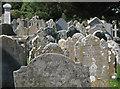 SX9272 : Headstones, St Nicholas's churchyard, Ringmore by Robin Stott
