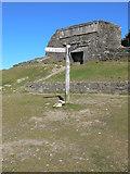 SJ1662 : Offa's Dyke signpost at the top of Moel Famau by Eirian Evans