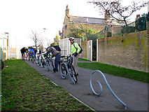 TQ3377 : Cycle rack in Burgess Park by Stephen Craven