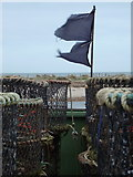 SZ1891 : Mudeford: two black flags flutter in the wind by Chris Downer