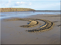 TA1281 : Tractor tracks in the sand, Filey by Pauline E