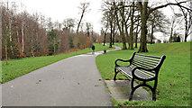 J3673 : Park seat and path, Belfast by Albert Bridge