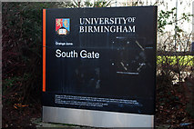 SP0483 : Sign at the South Gate, University of Birmingham by Phil Champion