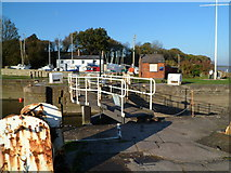 SO6501 : Footbridge and outer lock gate, Lydney Harbour by Jaggery