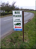 TM2374 : Mark Peacock Land Rovers sign by Adrian Cable