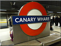 TQ3780 : Platform sign, Canary Wharf Underground Station by Robin Sones