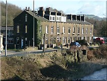 SE0026 : Calder Terrace and remains of sluice, Burnley Road, Mytholmroyd by Humphrey Bolton