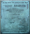 NY9121 : Commemorative plaque, Selset Reservoir by Karl and Ali