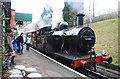 SK5612 : Rothley Station - a rake of mineral waggons behind a 'Jinty' by Chris Allen