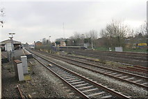 TQ0680 : West Drayton station from the Up & Down Goods Line by Roger Templeman