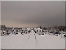 TQ7968 : Snow covered path in Woodlands Road Allotments by David Anstiss