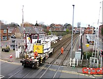 SK8508 : Rail Action at Oakham 04:Crane crossing crossing by Andrew Tatlow