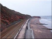 SX9777 : Coastal railway line towards Dawlish Warren by David Martin