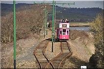SY2591 : East Devon : Tram Tracks & Tram by Lewis Clarke