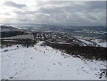 SJ1662 : Offa's Dyke Path south of Moel Famau in winter by Jeremy Bolwell